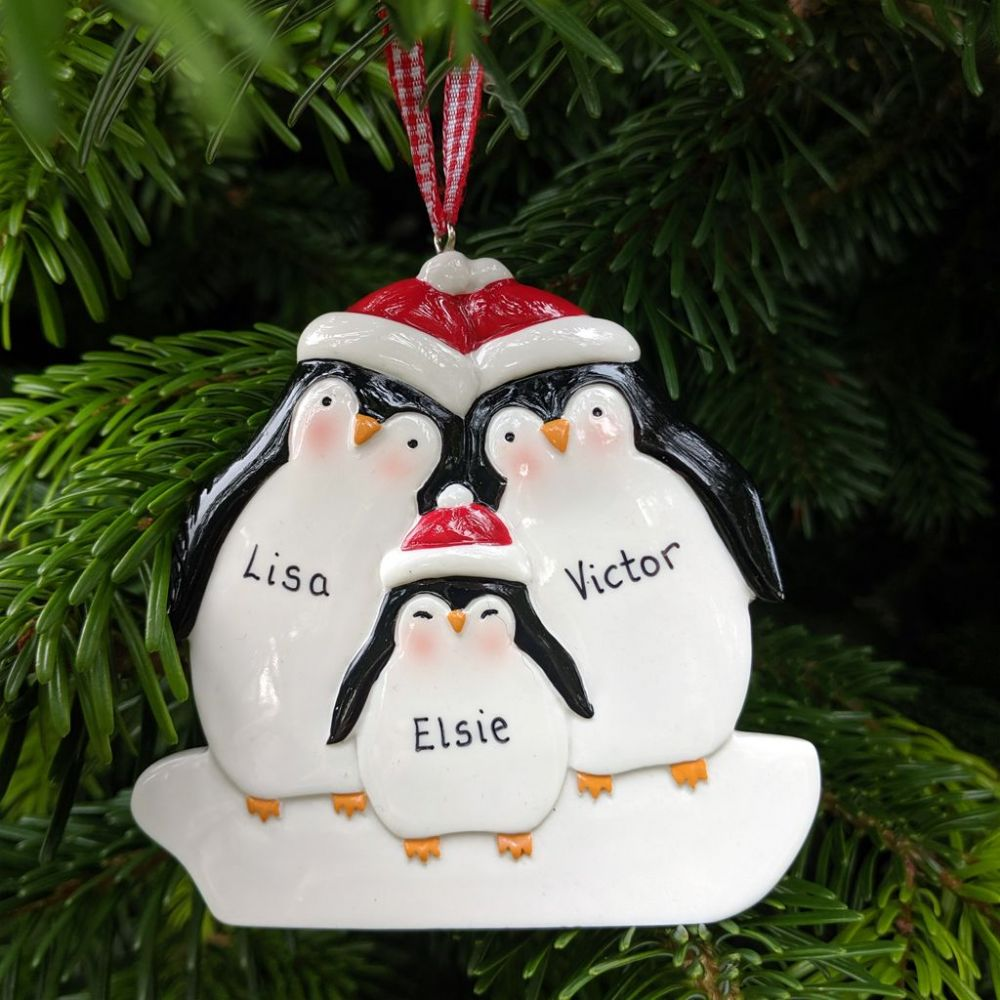 Personalised Penguin Family of 3